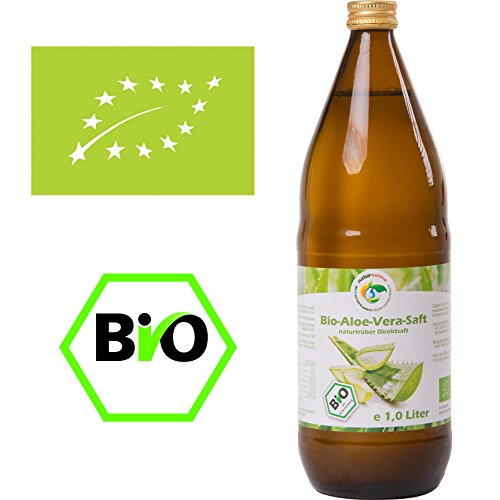 Bio Aloe Vera Saft 1l, naturtrüber Direktsaft, handfiletiert, aus kontrolliert biologischem Anbau, Abfüllung in Deutschland, vegan