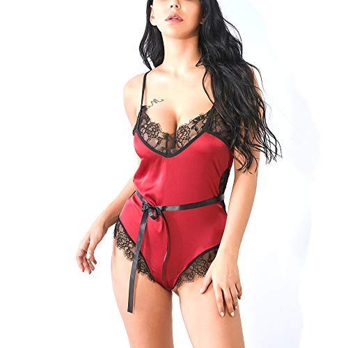Mibuy Damen Spitze Dessous Sexy Overall Reizwäsche Reizvolle Lingerie Bikini Nachtwäsche-Sets Negligee Reizvolle Strapsen Erotik V-Ausschnitt Unterwäsche Lingerie Babydoll Nachthemd Set(Rot,M) - 2