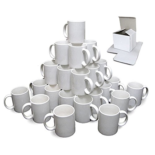 PixMax Mug Press Machine & 72x 11oz White Blank Sublimation Mugs For Heat Transfer Designs