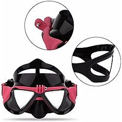 Sportstorm sous-Marine Masque de Plongée Scuba Lunettes de Natation pour Tuba avec vis de Amovible Support de Fixation pour GoPro Hero4, Hero3et Xiaomi Yi Caméras d'action, Red
