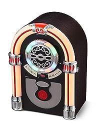 UEME Retro Desktop Jukebox, Musikbox mit CD Player, Bluetooth, UKW Radio, AUX-Eingang und farbwechselnden LED-Leuchten