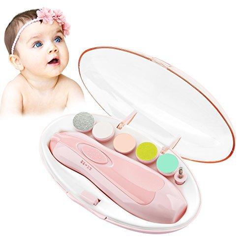 Zooawa Elektrische Baby Nagelfeile Nagelknipser set - 6 in 1 Maniküre Pediküre Set Baby Nagelpflege mit LED Licht, AA batteriebetrieben, Rosa