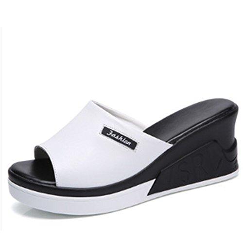 Confortable Chaussures d'été Chaussons sauvages Chaussons en cuir de rose et de mode Pantalons avec des sandales épais et épais (2 couleurs en option) (taille facultative) Augmenté ( Couleur : B , tai A