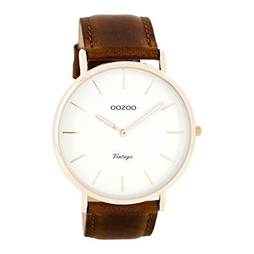 Oozoo Herren Digital Quarz Uhr mit Leder Armband C7756