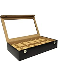 Essart PU Leather Watch Organiser Box for 12 Watches-Black