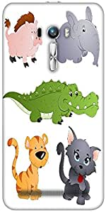 Snoogg Cute Animals Vectors Designer Protective Back Case Cover For Asus Zenf...