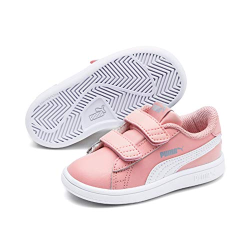Puma smash v2 l v inf', sneaker unisex-bambini, rosa (bridal rose white-faded denim), 24 eu