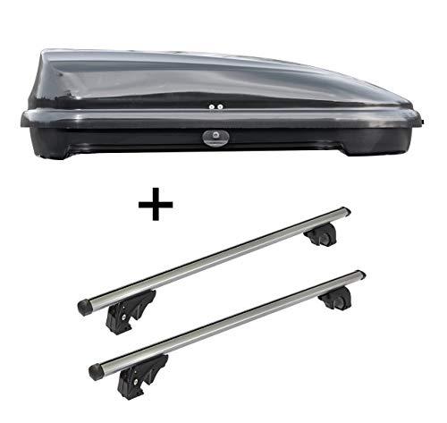 Dachbox VDPFL320 320Ltr schwarz glänzend + Dachträger VDPLION1 kompatibel mit Volkswagen Caddy (3-5 Türer) 10-15