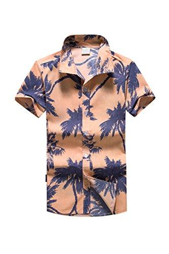Zonsaoja-Hombres-Camisas-Hawaianas-Holiday-Palm-Tree-Tops-Casual-Beach-Apricot-L