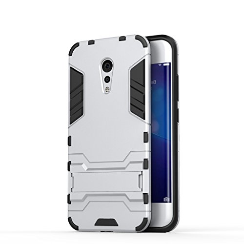 Für VIVO Xplay6 Case 2 In 1 Hybrid Armor Denfender Shockproof Hard Back Cover Dual Layer TPU PC Anti-Kratzer Schock Absorption mit Stand ( Color : Red ) Silver