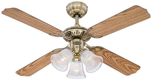 Westinghouse 7826540 Princess Trio Ventilateur de plafond E14 Métal Laiton antique