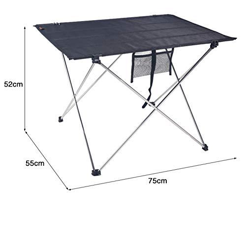 PeiQiH Extérieur Portable Table Pliable, avec Sac de Transport Anti-dérapant Compact Léger Aluminium Table de Pique-Nique Loisir Barbecues Jardin Table de Camping-Grand 75x55x52cm