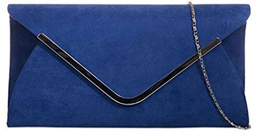 Ladies Classic Medium Sized Faux Suede Envelope Clutch Bag with Contrasting Trim - Royal Blue Royal Trim