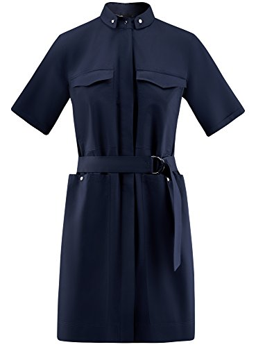 oodji Ultra Damen Hemdkleid mit Taschen Blau (7900N)