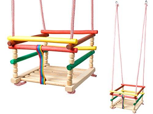 Iso Trade Kinderschaukel Holz Babyschaukel Gitterschaukel In & Outdoor zum Aufhängen #6248