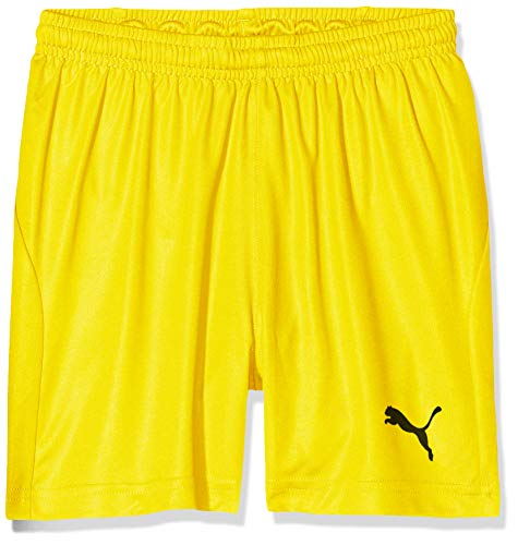 PUMA Kinder Liga Shorts Core w Brief Jr Hose, Cyber Yellow Black, 128