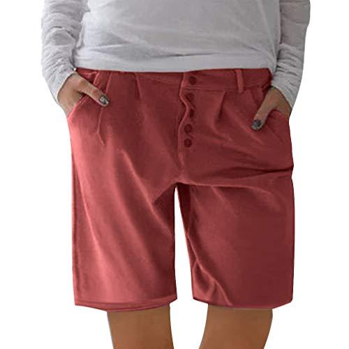 ZHANSANFM Leinenshorts Herren Unifarben Shorts Classics Sommer Badeshorts Bermuda Button Down Kurze Hose Urlaub Outdoor Taschen Strandshorts Mode Retro Regular Fit Elegant (M, rot) -