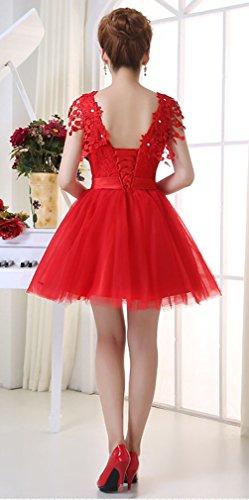 Eyekepper Robe de demoiselle d'honneur floral courte robe de soiree bal Rouge