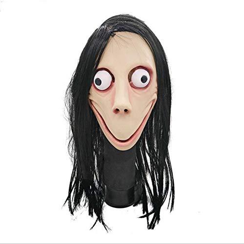 FENGFENGGUO Horror Maske, Horror Spiel Girl Mask Halloween Ghost Festival Raum Haunted House Scream Party Perücke Film Challenge Spiel Eyes Glow