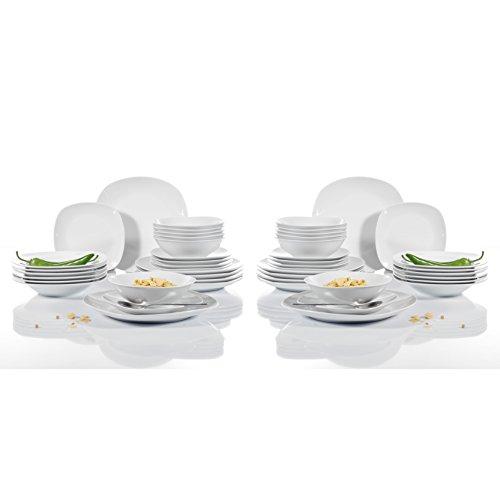 Malacasa, Serie Elisa, 48 tlg. Porzellan Tafelservice Kombiservice Geschirr Set, 12 Dessertteller, 12 Suppenteller, 12 Flachteller und 12 Müslischale für 6 Personen