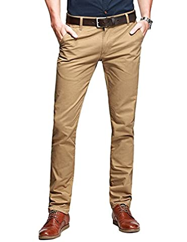 Match Herren Slim-Tapered Flat-Front Casual Hose #8025(8025 Braun,29)
