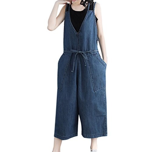Kobay Women Playsuit Pants, Casual Loose Denim Jumpsuit Strap Harem Overalls Harem Trousers