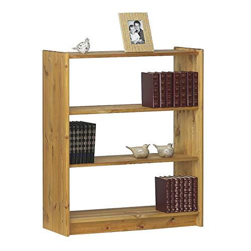 SAM Bücherregal Axel, massives Kiefernholz, gelaugt & geölt, rustikales Standregal mit 2 Regalböden, Unikat, 84 x 30 x 100 cm -