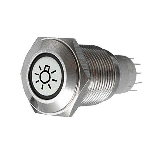 Supmico 16mm KFZ Kippschalter Wippschalter Schalter Drucktaster 12V Blau LED Licht Lampe Metall Scheinwerfer -