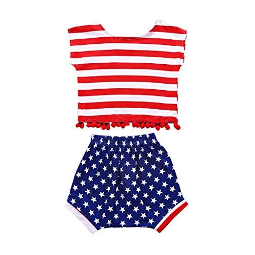 MRURIC❀ Kleidungsset Bekleidung Babykleidung Sommer Infant Baby Jungen Mädchen Sterne Gestreifte Tops+Shorts 4th of Outfits Set Kleidung T-Shirt Tops Set Kinderkleidung Kleider Set