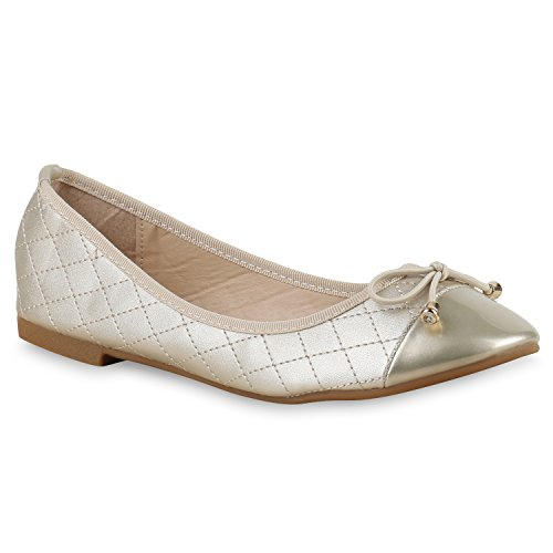 Klassische Damen Ballerinas Lederimitat Schuhe Nude Metallic Gold Gold