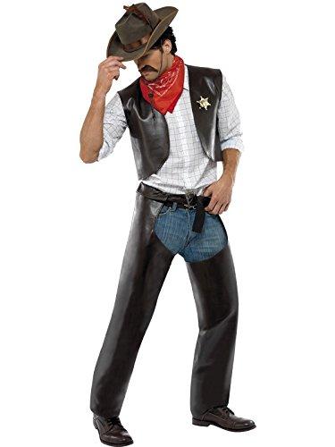 Gay People Village Kostüm - Smiffys, Herren Village People Cowboy Kostüm, Weste, Chaps, Sheriff-Abzeichen und Halstuch, Größe: L, 36238