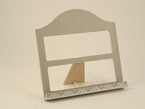 Atril de madera gris con diseño de encaje, 30x 28,5x 6cm