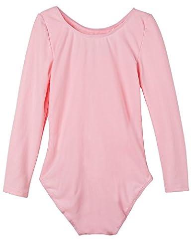 iEFiEL Justaucorps de Danse Classique Col Rond Extensible T shirt Manches longues Enfant Fille 3-12 Ans Rose 7-8 ans