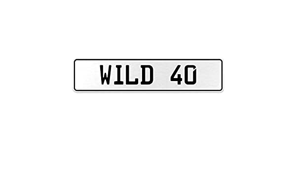 Vintage Parts 555825 Wild 40 White Stamped Aluminum European License Plate