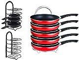 EVER RICH  - Organizador de ollas con altura ajustable, 5 estantes, para cocina, armario de cocina, encimera, encimera (negro) (Black)