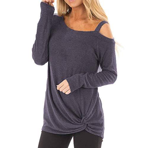 OverDose Damen Herbst täglichen Stil Frauen Mode lose Langarm O-Ansatz beiläufige Party Ausflug Solid T-Shirt Bluse Tops Pullover Outwear(Z1Marine,EU-42/CN-XL)