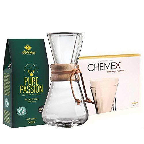 Bundle Chemex mit Holzhals + Filter und Moema Kaffee Pure Passion 250g
