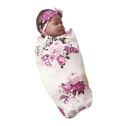 URSING Neugeborenes baby Swaddle Drucken tuch Decke Schlafen warm puckdecke Muslin Wrap Mode babydecke swaddleme baumwolle handtuch weich wrap decke frühchen schlafsack+niedlich blumenhaarband (31.9*31.9
