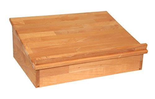 Großes Tischpult Zum Aufklappen mit Ablagefach, Lesepult Tischaufsatz aus Massivholz Buche, geölt,...