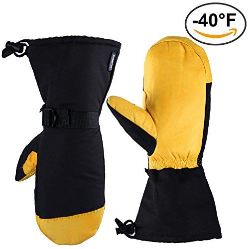 Ski-Handschuhe, OZERO -40ºF Kältefeste Thermalhandschuhe für Männer und Frauen - 150g 3M Thinsulate-Isolierung und 5 Zoll extra lange Ärmel - Wasserdicht & Winddicht & Atmungsaktiv (L)