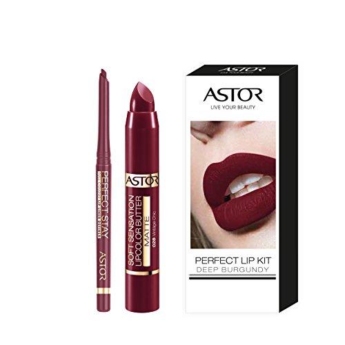 Astor Lip Kit Burgundy mit Soft Sensation Lip Color Butter Matte und Perfect Stay Automatic Lip Liner, 1er Pack (1 x 5 g)