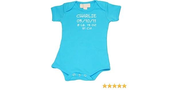 Babybody blau mit Namen und Datum kurzarm Gr.62