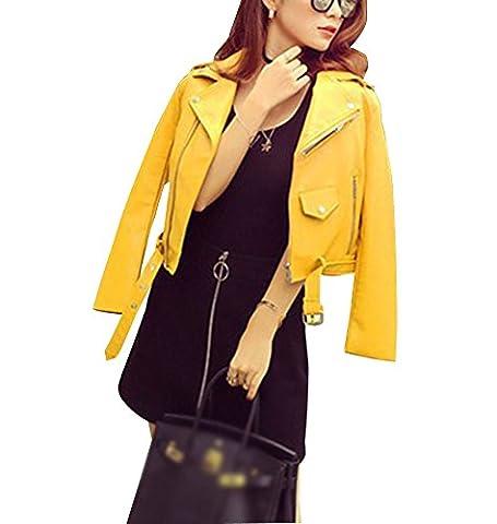 Femmes Veste en simili cuir Zipper Manteau Court Veste Blazer à Manches Longues S Jaune