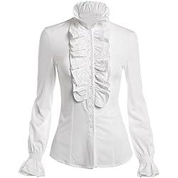Himone Blusa de cuello alto para mujer, con volantes, diseño vintage multicolor blanco 46