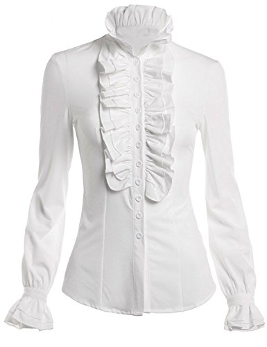 HIMONE Women Stand-Up Collar Lotus Ruffle Shirts Blouse (18, White)