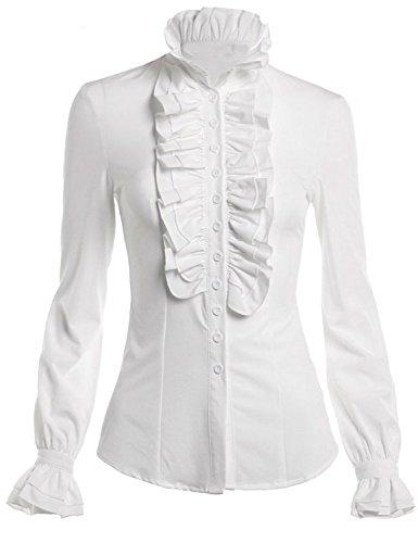 HIMONE Damen Aufstehen Halsband Lotus Rüsche Shirts Bluse Weiß,M -