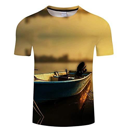 Meergraues Herren-T-Shirt mit Fischmuster und kurzen Ärmeln TXKH438 XXXL -