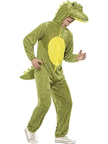 Luxuspiraten - Herren Männer Damen Kostüm Plüsch Krokodil Crocodile Alligator Fell Einteiler Onesie Overall Jumpsuit, perfekt für Karneval, Fasching und Fastnacht, L, Grün