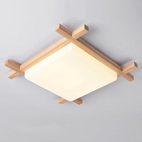 ZHAOJING Lampes de Plafond en Bois LED Étude de vestiaire Lampes en Bois véritable Éclairage de Chambre en Bois Original Frais et Tranquille Simple et élégant (Taille : 48 * 10CM 18W)