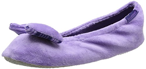 isotoner-velour-big-bow-ballet-slippers-t-chaussons-fermes-femme-purple-lilac-stripe-taille-m